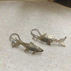 Silver fish earrings